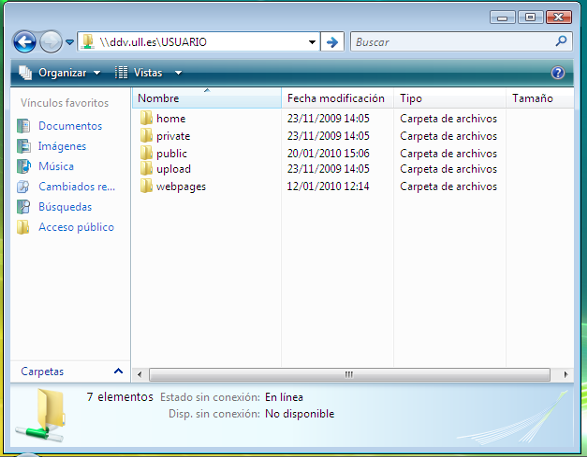 Explorador de windows accediendo al disco en red.